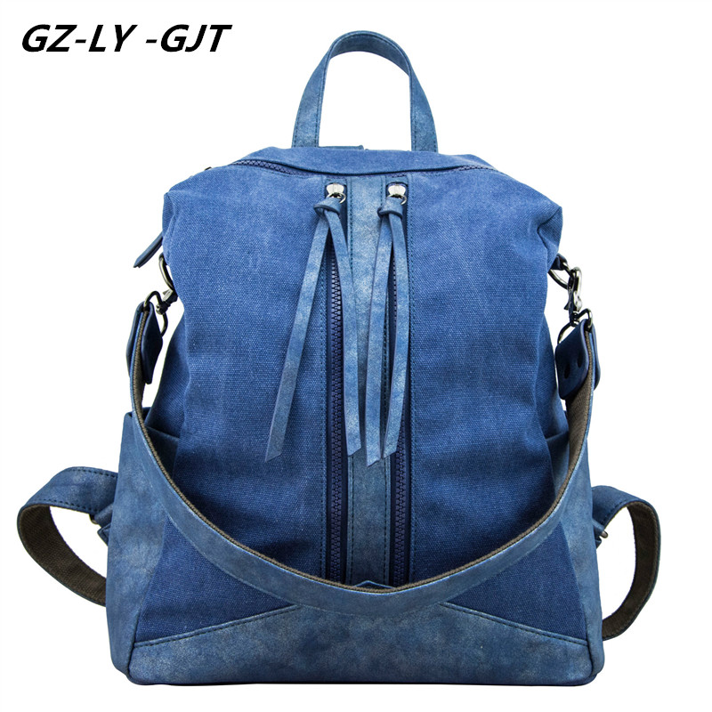 GZ LY GJT Famous Brand Backpack Women Canvas Bag Female Fashion Designed Backpacks For Teenage Girls