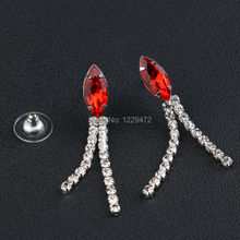 TREAZY Elegant Bridal Jewelry Sets Red Color Crystal Necklace Earrings Jewelry Set for Women Wedding Party Accessories Gift
