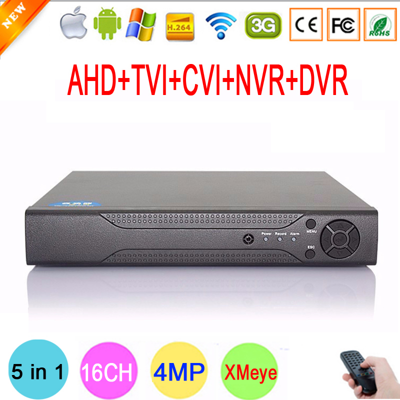 Hi3531A Chip 16 Channel 16CH 4MP Full HD Surveillance 5 in 1 Hybrid Coaxial ONVIF TVi CVI IP NVR AHD CCTV DVR Free Shipping