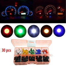 30 Sets Car Auto T5 LED Twist Socket Instrument Panel Cluster Plug Dash Light mix Bulb green/red/white/blue/yellow #284175