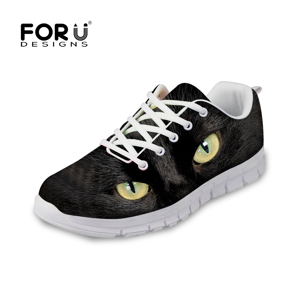 ФОТО FORUDESIGNS Cool Animal Black Cat Pattern Women Casual Shoes Women Breathable Spring Summer Leisure Shoes For Ladies Girls Mujer