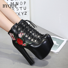 BYQDY Embroider Ankle Boots Women Autumn Platform 16cm Ultra High Heels Round Toe Zip Motorcycle Russian Shoes