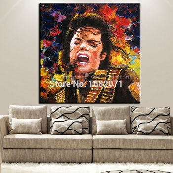 Hand-painted Singer Michael Jackson Knife Figure Oil Painting On Canvas Impression Artwork Michael Jackson Portrait Painting