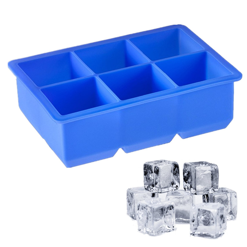 Wulekue 6 Cavity Silicone large Perfect Square Ice Tray Cube Maker Whisky Cocktail Garnish Bar Superior Icing Mold Mould Moulds