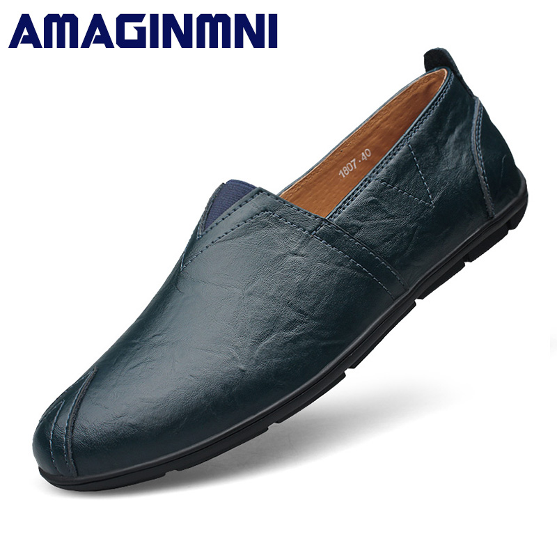 AMAGINMNI New arrival Low price Mens Breathable High Quality Casual Shoes Leather Casual Shoes Slip On men Fashion Flats Loafers