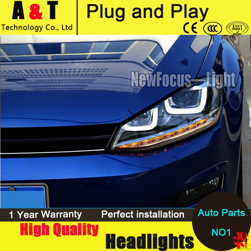 Auto Lighting Style LED Head Lamp for VW Golf 7 GTI R20 led headlight assembly golf7 angel eye led drl H7 with hid kit 2pcs. hireno headlamp for volkswagen golf7 golf 7 mk7 2014 headlight headlight assembly led drl angel lens double beam hid xenon 2pcs