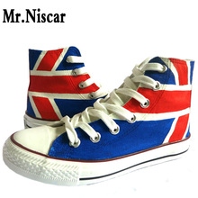 Jack Union Hand-Painted Canvas Shoes Hi-Top British Flag Graffiti Shoes UK Flags Striped Fashion Breathable Shoe for Men Women