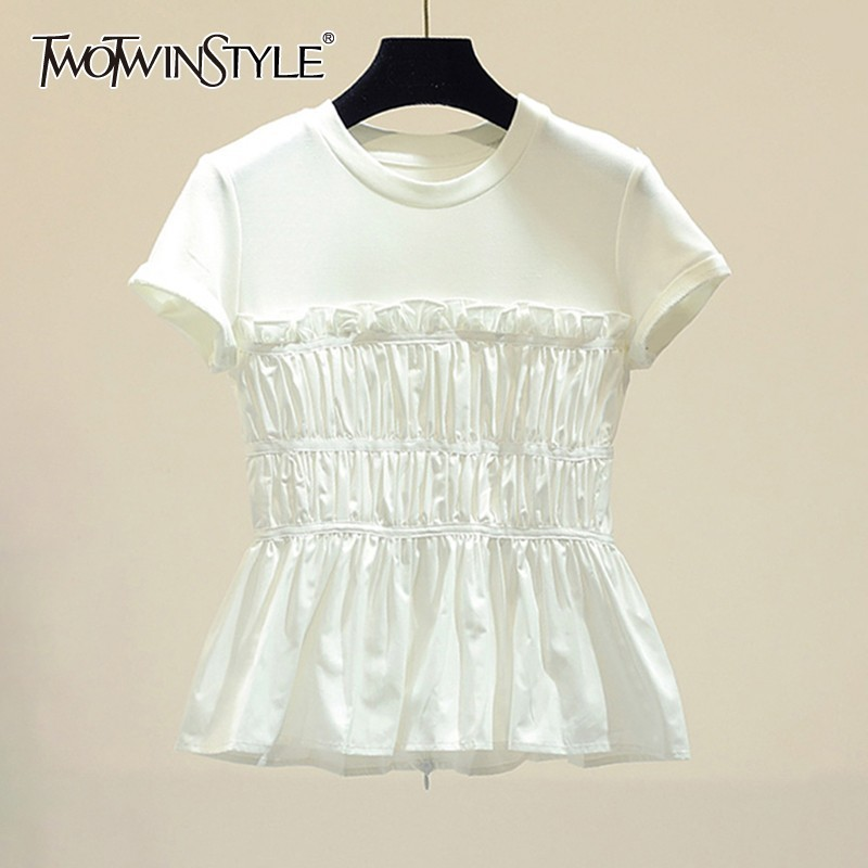 TWOTWINSTYLE Chiffon Patchwork T-shirt For Women O Neck Ruffles Ruched Loose T-shirts Female Elegant Fashion Summer 2019 New