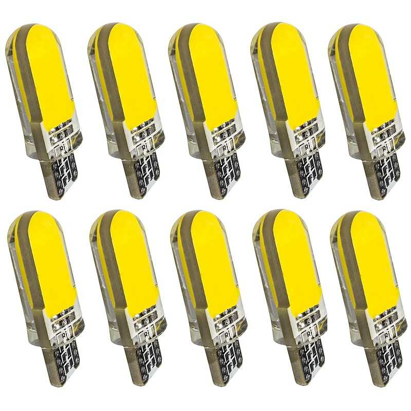 10pcs T10 W5W Silicone Case 12 Chips COB LED Car Wedge Interior Dome Reading Light WY5W 501 Auto Parking Bulbs Turn Side Lamps
