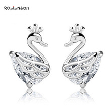 ROLILASON Pure Silver Small Swan stud earrings s925 Crystal Zircon Topaz Jewelry for party gifts SE38