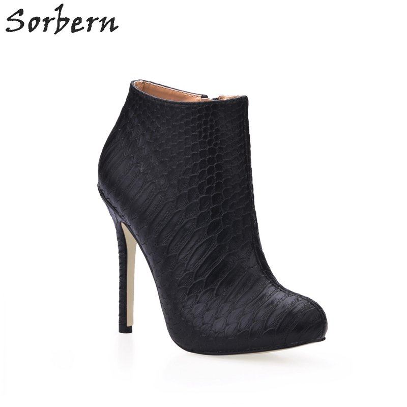 Sorbern Brand Designer Women Shoes Concavo Convex Snakeskin Black High Heels Pointed Toe 2017 Boots Custom Colors New Warm Boots