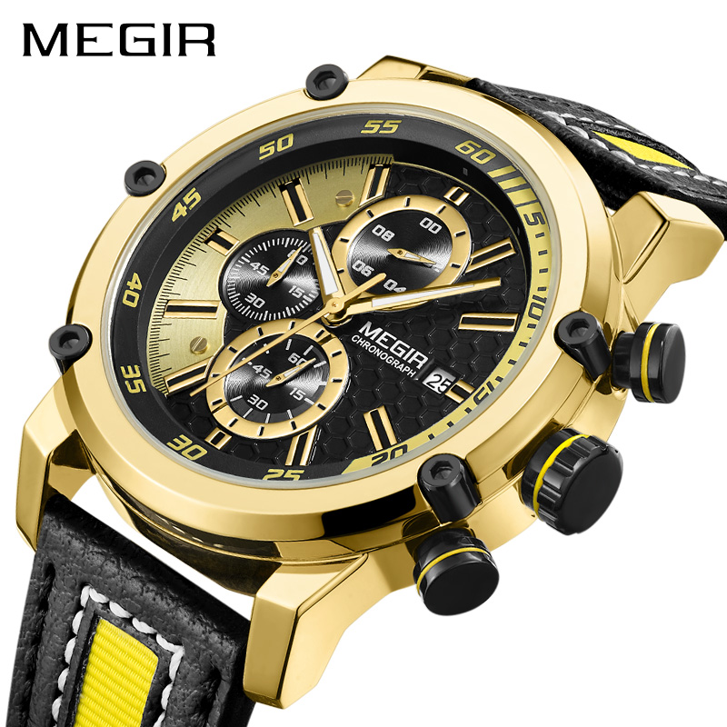 Luxury Military Men Quartz Watch Fashion Waterproof Sport Watches MEGIR Male Casual Leather Strap Business Wrist Watch dropship migeer brand luxury fashion canvas strap watch men quartz watch casual males sport business wrist men watches