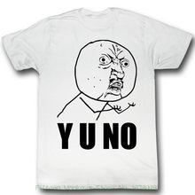 Fashion 2018 Top Tee Mens Y U No Yu ? White Men's Adult Short Sleeve T-shirt(China)