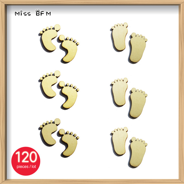 Us 4 26 120pcs Lot Blank Footprint Wooden Crafts Embellishments Scrapbooking Invitation Card Wood Baby Shower Diy Decoration In Figurines