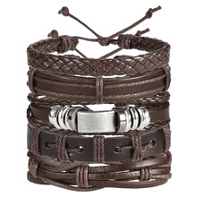 Vintage Leaf Feather Multilayer Leather Bracelet Men Fashion Braided Handmade Star Rope Wrap Bracelets & Bangles Male Gift
