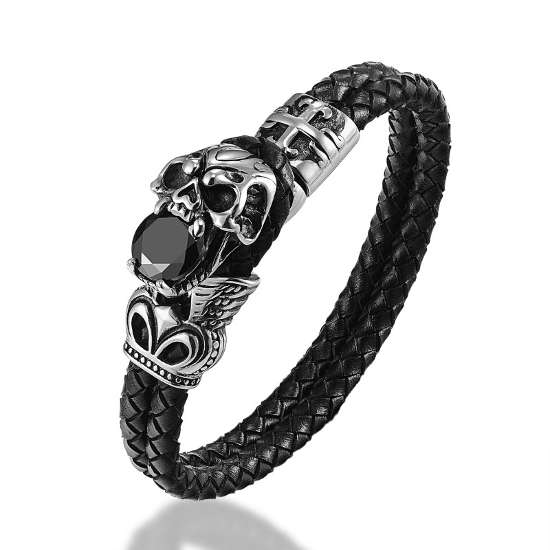 JANEYACY FASHION Pria Gelang Stainless Steel Skull Gelang Hitam Kulit - Perhiasan fashion - Foto 1