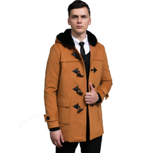 Fashion College Style Horns Deduction Cashmere Coat Winter New Men Loose Europe Hooded Wool Jacket Male Medium Style Large Size