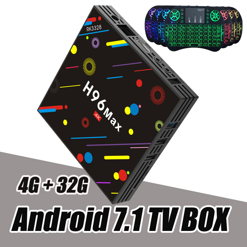 RUIJIE H96 Max H2 Android 7.1 TV Box 4g 32g RK3328 Quad Core 4 k Smart Tv VP9 HDR10 USB3.0 WiFi Bluetooth 4.0 Lettore Multimediale