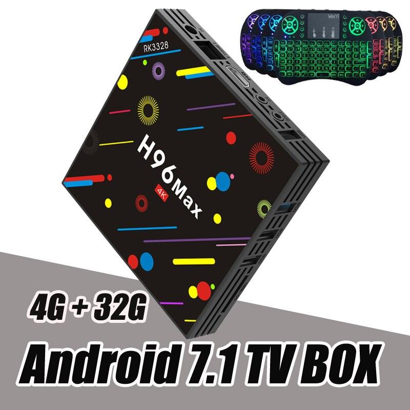 RUIJIE H96 Max H2 Android 7.1 TV Box 4G 32G RK3328 Quad Core 4 K Smart Tv VP9 HDR10 USB3.0 WiFi Bluetooth 4.0 Lecteur Multimédia