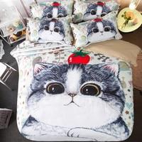 LLANCL Cartoon Cat Animal Printed Quilt/Duvet/Comforter cover Adult Bedroom 3pcs Polyester Fiber Christmas Gift Black Pink