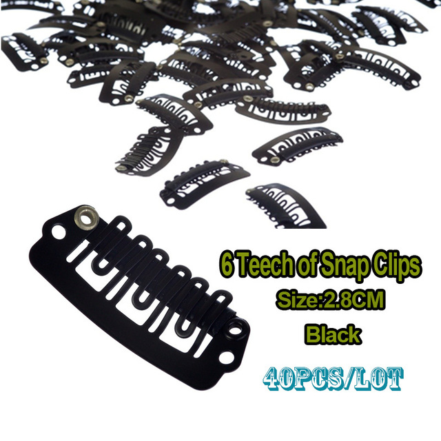 28mm Black Snap Clip For Hair Extension Silicone Hair Clips Human
