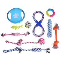 10 pz Puppy Dog Pet Chew Toys Set Pet Tranning Sfera di Cotone Pet Corda Giocare Giocattoli Fishbone Flying Disc per le Piccole e Medie cani