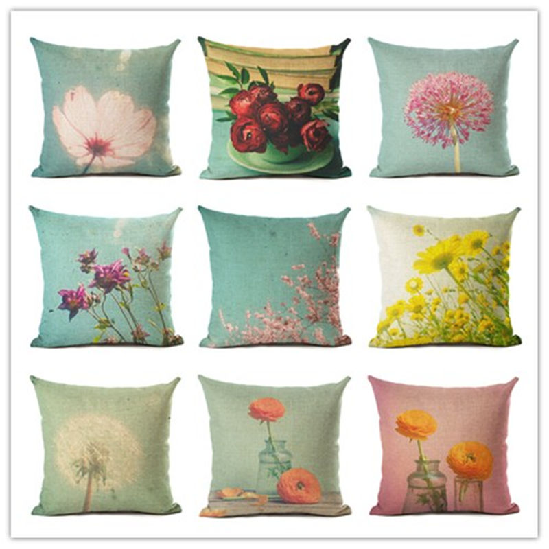 New Arrival Small Flower Home Decorative Sofa Cushion Throw Pillow Case  Cotton Linen Square Pillows(