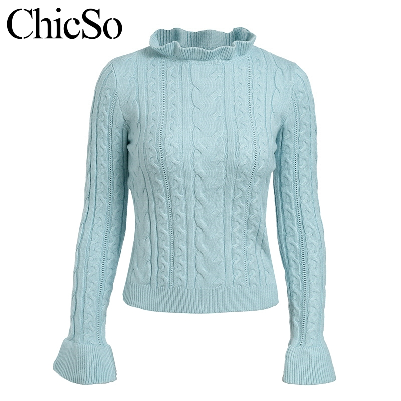 Blue And White Christmas Sweater.Us 15 59 48 Off Missychilli Ruffle Fitness Christmas Sweater Jumper Women Flare Sleeve Blue Turtleneck Sweater Female Knitting White Pullover In