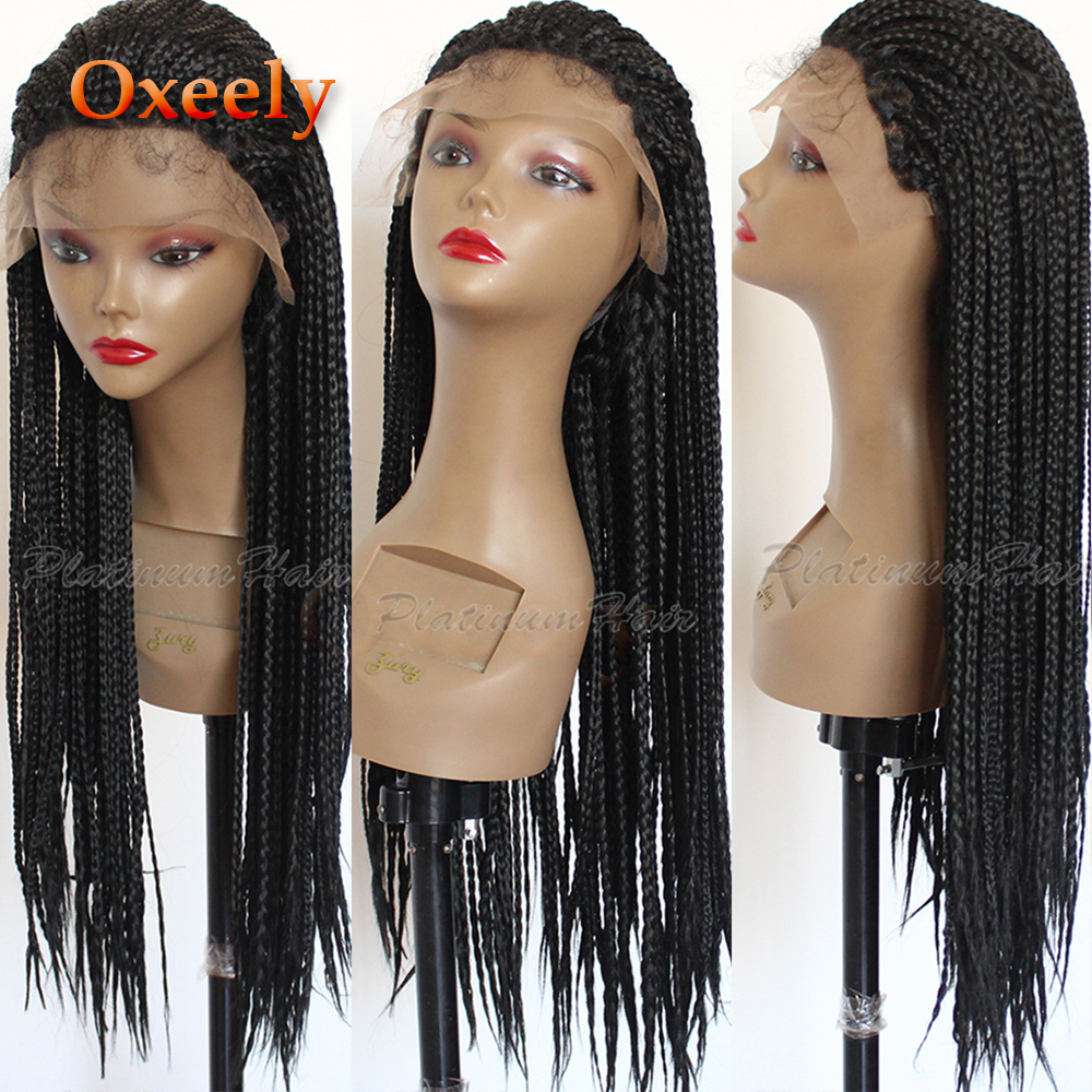 Oxeely Long Braided Hair Synthetic Lace Front Wigs Handmade Collection Braideds With Baby Hair Box Braided Wig for Black Women-in Synthetic Lace Wigs from Hair Extensions & Wigs    1