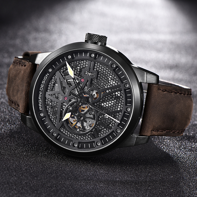 Classic Skeleton Mechanical Waterproof Genuine Leather Watch 2