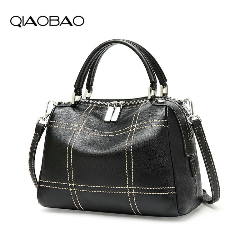 QIAOBAO Fashion Real Leather Handbags Women Thread Casual Tote Bags Vintage Women Handbags Ladies Crossbody Bags