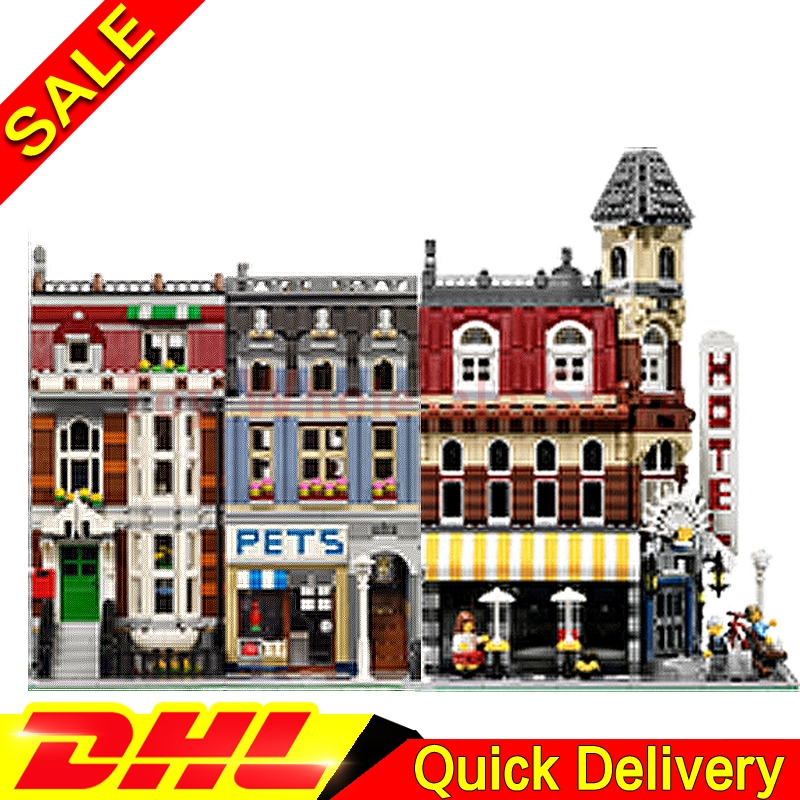 Lepin 15002 Cafe Corner + Lepin 15009 Pet Shop City Street Model Building Blocks Bricks Kits lepins Toy Clone 10182 10218 lepin 15009 city street pet shop model building kid blocks bricks assembling toys compatible 10218 educational toy funny gift
