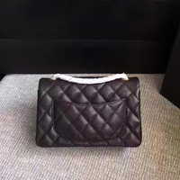Classic mini caviar leather bag luxury handbag women Genuine leather crossbody bag brand metal chain square messenger bags