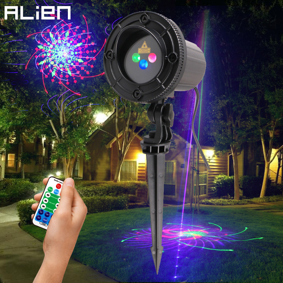 ALIEN RGB 32 Patterns Christmas Laser Projector Outdoor Light Remote Garden Waterproof IP65 Holiday Xmas Outside