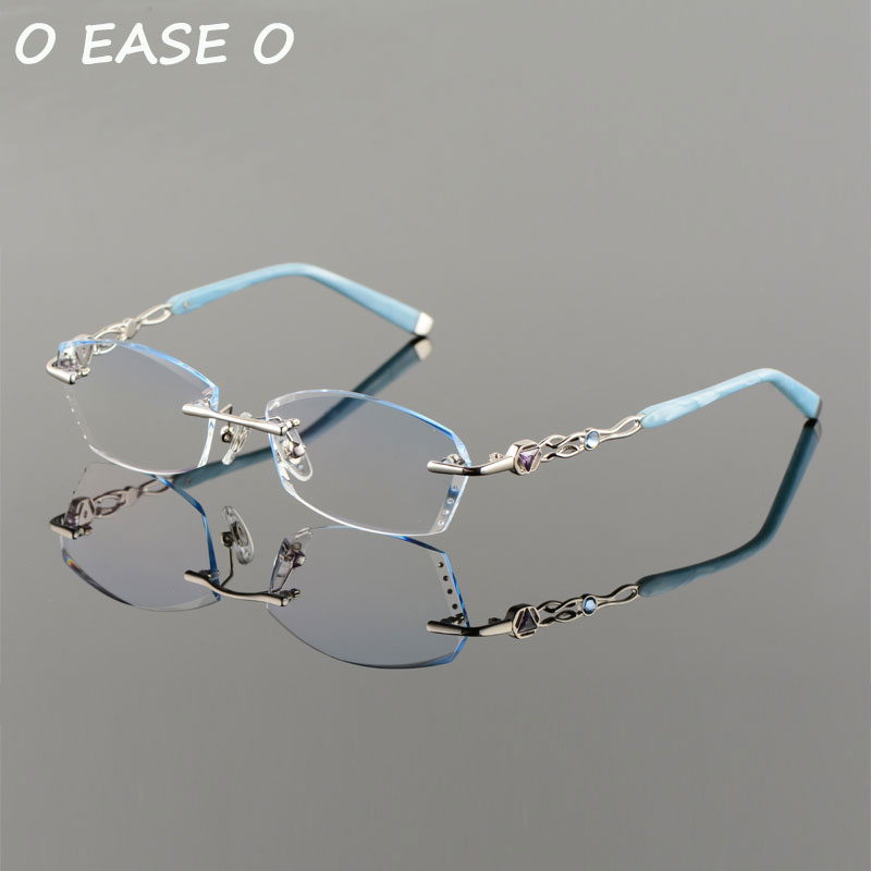 2017 Neue Randlose Koreanische Frauen Optische Rahmen Einschließlich 1,61 Asphereic Getönte Hmc Uv400 Emi Objektiv Titan Randlose 58101 Brillen Dinge Bequem Machen FüR Kunden