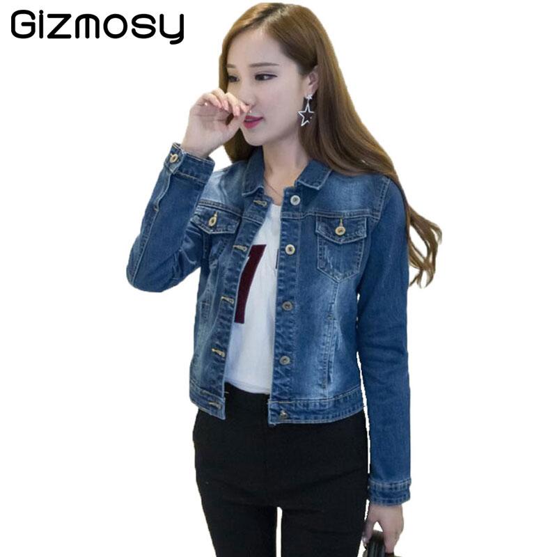 huge selection of 41cca 895fb US $21.58 |Denim Giacche Corte Donna Vintage jeans giacche Manica Lunga  casual cappotto delle donne giacca di jeans tuta sportiva sottile Femminile  ...