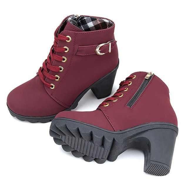 Женская обувь, женские ботинки, новинка 2018, женские ботинки на высоком каблуке, большие размеры, женские зимние ботинки, однотонные ботильоны из искусственной кожи с пряжкой для женщин