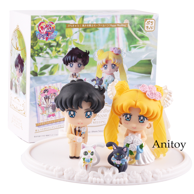 Sailor Moon Figure Salior Lune Mamoru Chiba Action Figure PVC Pretty wedding Guardian Toy Gift 2~4.5 cm