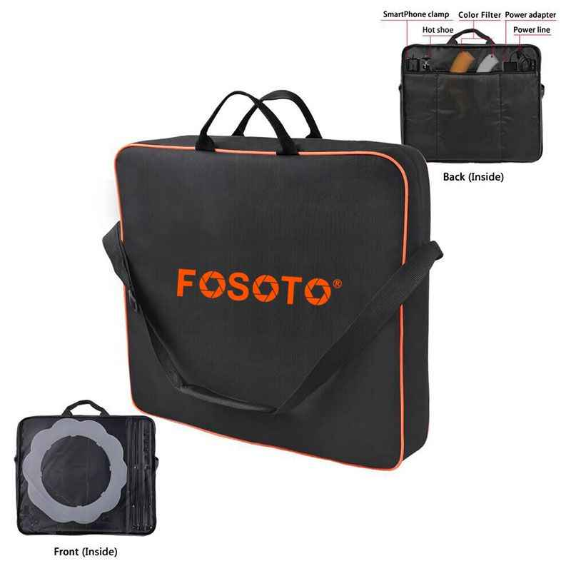 "fosoto High Quality Conjoined bag Orange Carry Case For RL-18 Ring Light Lamp And Tripod Stand&All accessories within 18"" lamp"