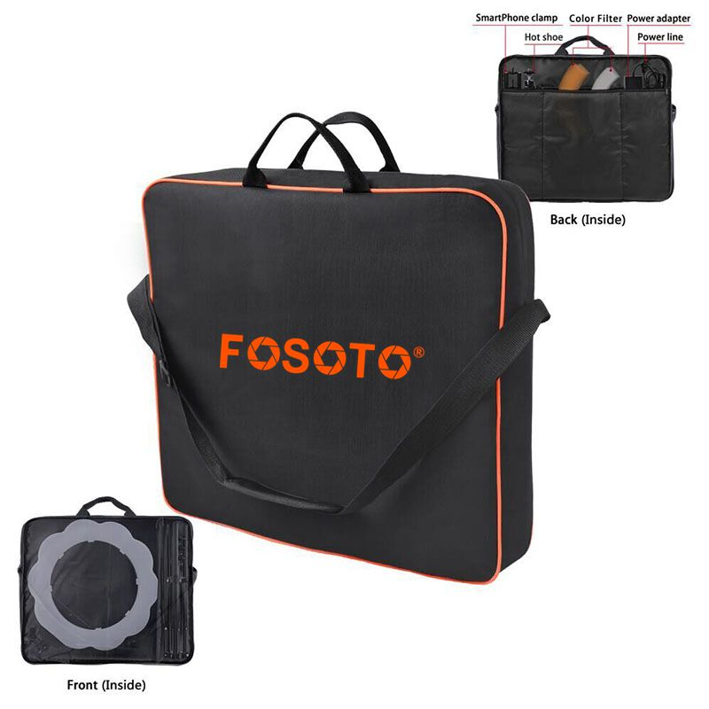 fosoto High Quality Conjoined bag Orange Carry Case For RL-18 Ring Light Lamp And Tripod Stand&All accessories within 18 lampfosoto High Quality Conjoined bag Orange Carry Case For RL-18 Ring Light Lamp And Tripod Stand&All accessories within 18 lamp
