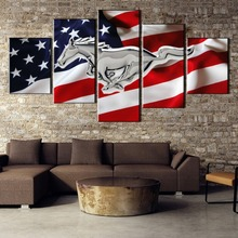 5 Pieces Mustang HD Printed Painting Canvas Wall Art Picture Home Decoration Living Room Decor Framed