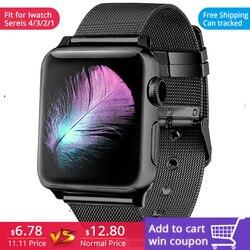 FOHUAS milanese laço para apple watch Série 3 2 1 substituição pulseira fivela de cinta de aço inoxidável banda iwatch com conector