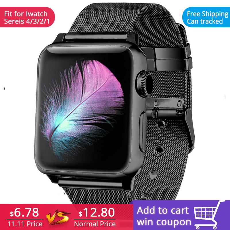 FOHUAS milanese loop para apple watch Series 3 2 1 correa de repuesto iwatch hebilla de correa de acero inoxidable con conector