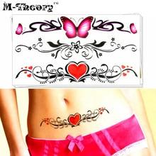 M-Theory Butterfly Choker Makeup Temporary 3d Fake Tattoos Sticker Flash Tatoos Henna Body Arts Sticker Swimsuit Makeup Tools
