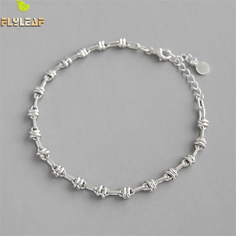 Flyleaf Minimalist Chain Real 925 Sterling Silver Bracelets For Women High Quality Fashion Fine Jewelry Bracelets & Bangles Ins
