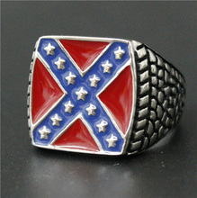 Drop Ship Size 7-15 Red Blue Stars USA Flag Ring 316L Stainless Steel Man Women Cross Flag Ring