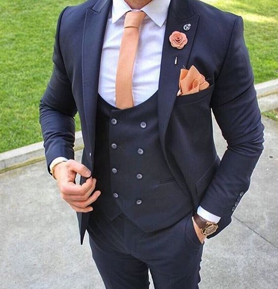 New Arrivals Navy Blue Mens Dinner Prom Suits Groom Tuxedos ...
