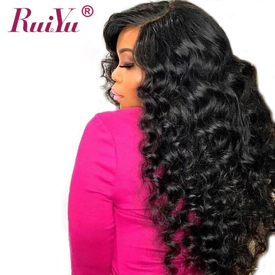 RUIYU Cabelo Parte Dianteira Do Laço Perucas de Cabelo Humano Para Mulheres Preto Natural Onda profunda Brasileira Do Cabelo Não Remy Lace Front Wigs Com Bebê cabelo