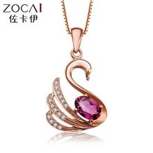 ZOCAI choker Animal Jewelry swan 18K Rose gold red Rubellite 0.3 CT Tourmaline 0.05 DIAMOND Pendant 925 STERLING SILVER CHAIN