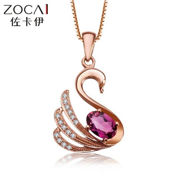 ZOCAI choker animaux bijoux cygne 18 K or Rose rouge Rubellite 0.3 CT Tourmaline 0.05 diamant pendentif 925 chaîne en argent STERLING
